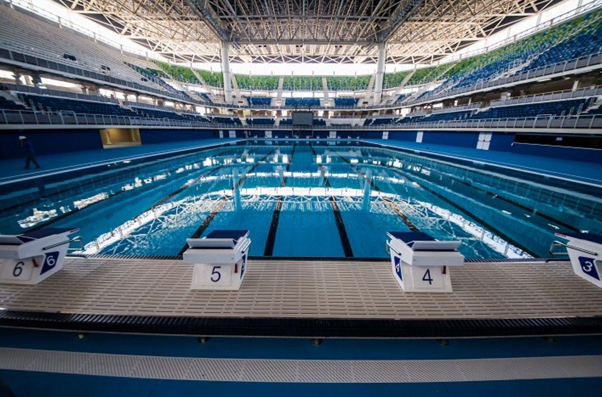 Etonnant Olympic Pool At Maria Lenk Aquatics Center In Rio De Janero One Week Before  The Kickoff