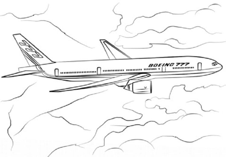 Boeing 777 Airplane Coloring Pages