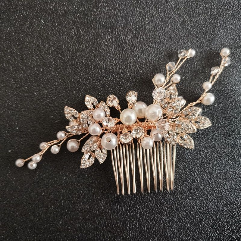 Bridal Trendy Headpiece Strass Haar Kamm Schmuck Perle Kristall Hochzeit Gift