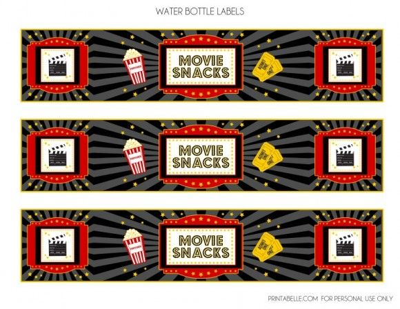 Download These Free Movie Night Printables - Water Bottle Labels. See more party ideas…