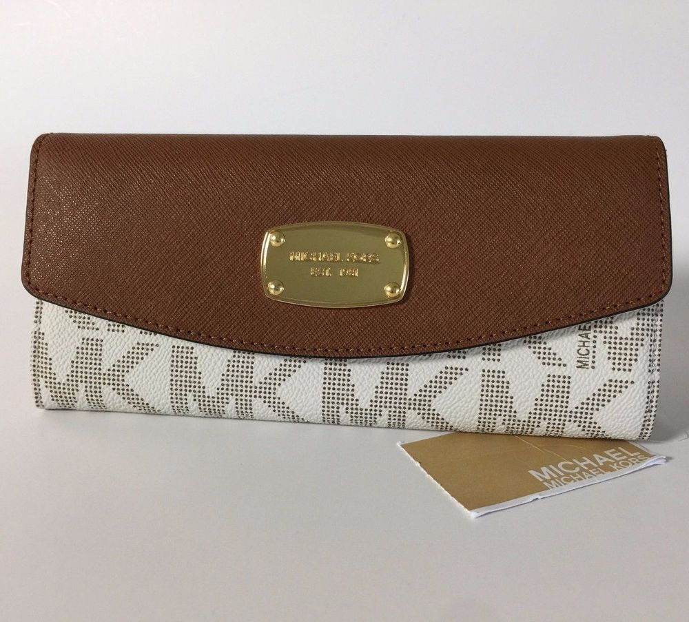 87bb806cd5dd New Michael Kors Jet Set Slim Flap PVC Saffiano Leather Wallet NWT Vanilla   MichaelKors  Wallet