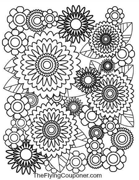 Free Colouring pages for adults and kids Happy Flowers coloring