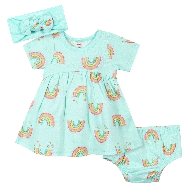 3-Piece Baby Girls Gold Rainbow Dress, Diaper Cover, and Headband Set