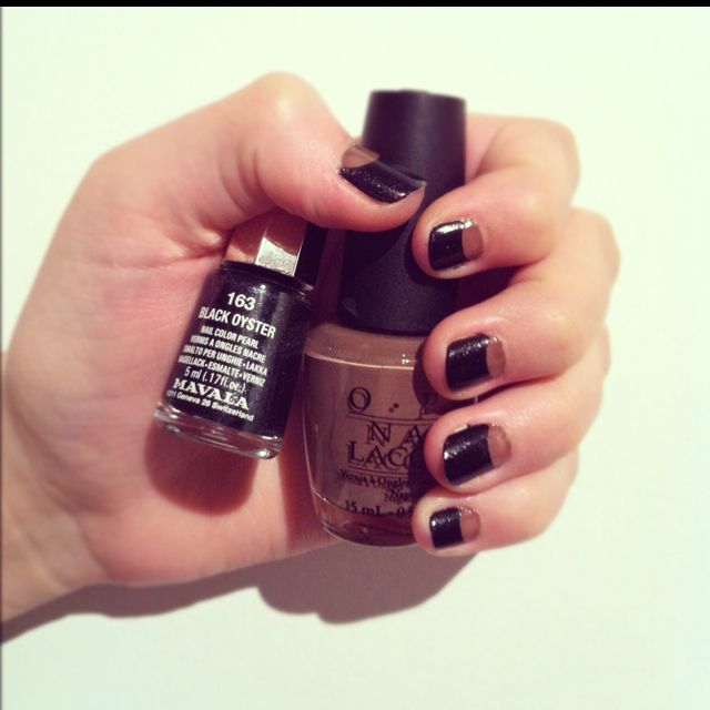 Nail Art - OPI Over the taupe - Mavala Black Oyster
