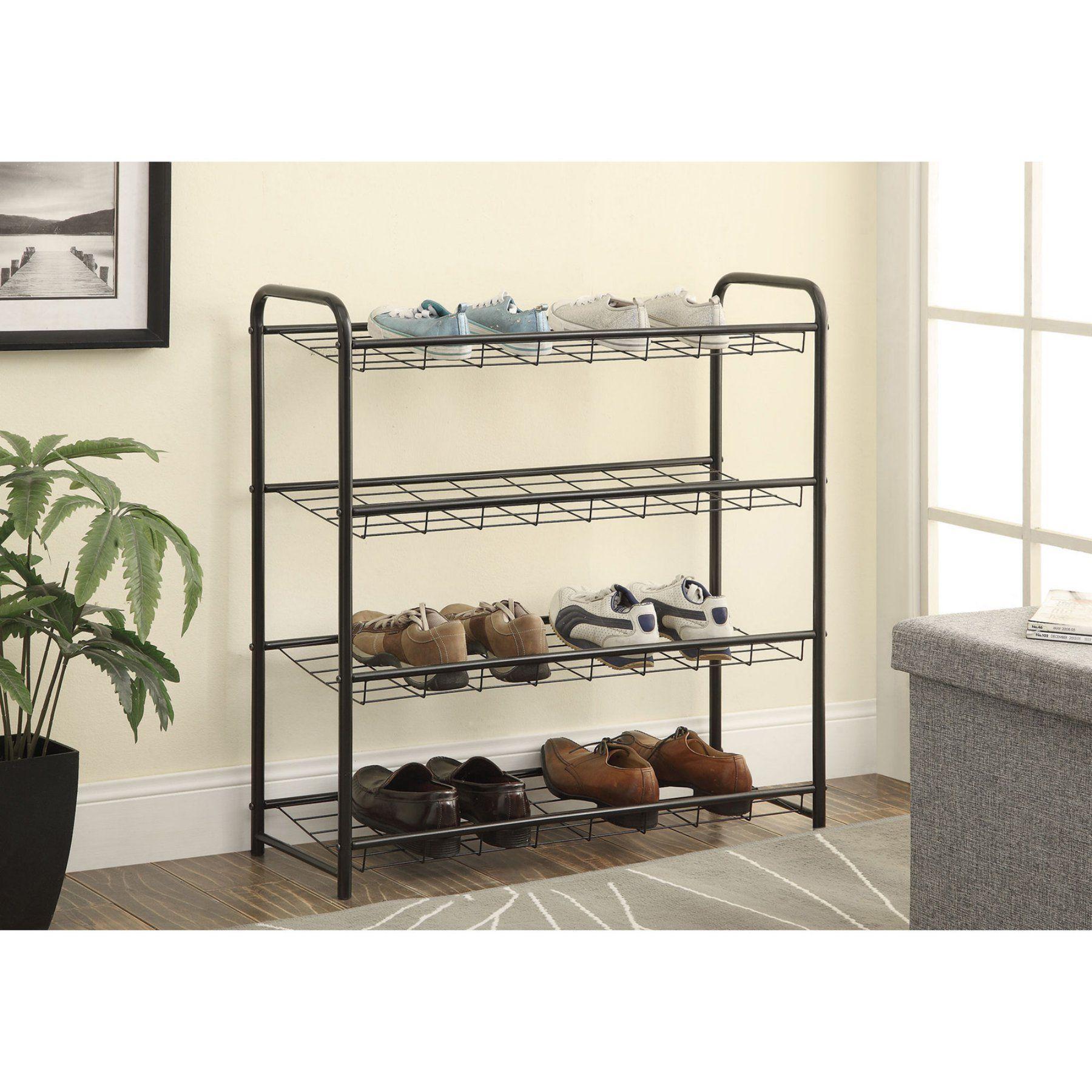 Hallway storage rack  Coaster Furniture  Shelf Metal Shoe Rack  Black    Shoe