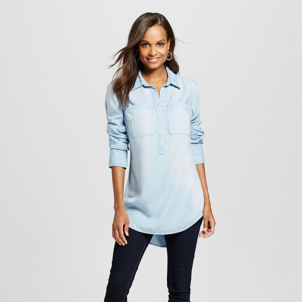 cef21713 Women's Button Down Shirts Light Denim Xxl, Blue | Products | Women ...