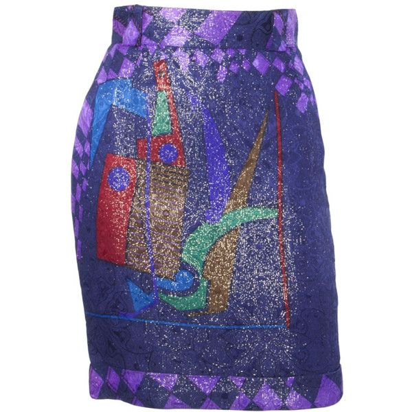 Preowned Gianni Versace Vintage Autumn/ Winter 1990 'picasso' Metallic... (£300) ❤ liked on Polyvore featuring skirts, purple, multi colored skirt, versace, purple skirt, versace skirt and blue metallic skirt