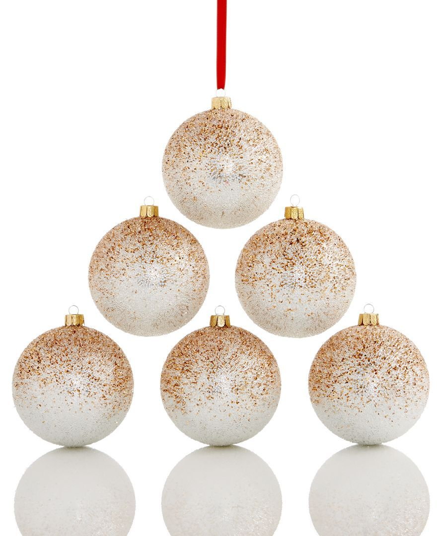 Holiday Lane Set Of 6 Shatterproof Ombre Ball Ornaments In Rose Gold