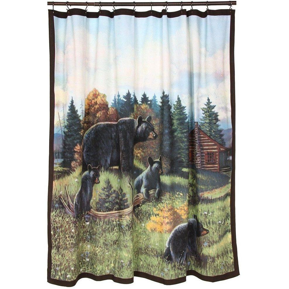 Black Bear Lodge Shower Curtain Lodge Shower Curtain Black Bear