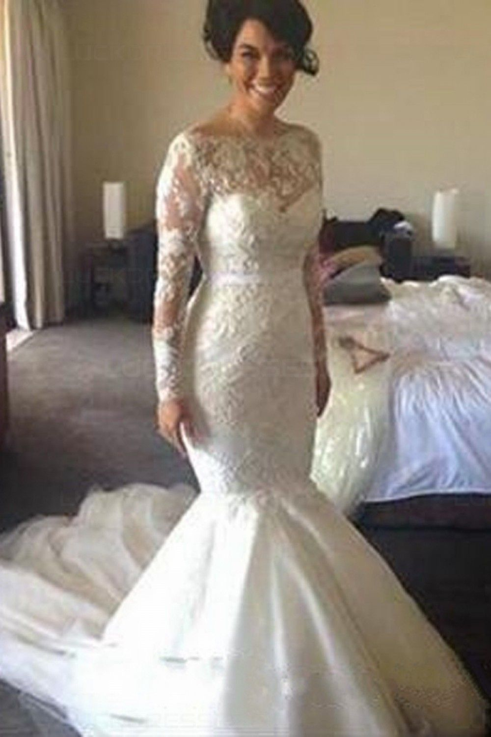 Long sleeves mermaid lace wedding dresses bridal gowns