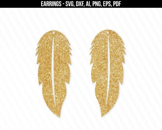 Cricut svg set Leather earrings svg DIY Earrings svg file Feather earring svg Leaf earring Feather earrings cut file Long earrings svg