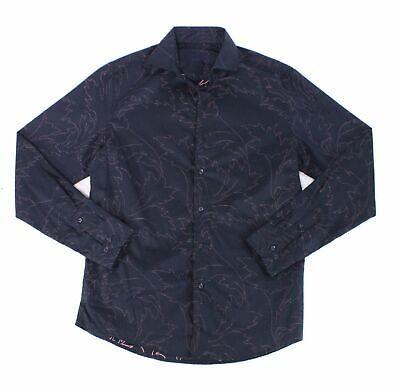 Tasso Elba Mens Dress Shirt Navy Blue Size XL Textured Floral Print $59 #055 #fashion #clothing #shoes #accessories #men #mensclothing (ebay link)