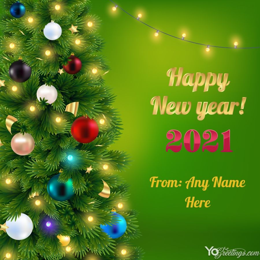 Happy New Year 2021 Greeting Card With Name Generator in