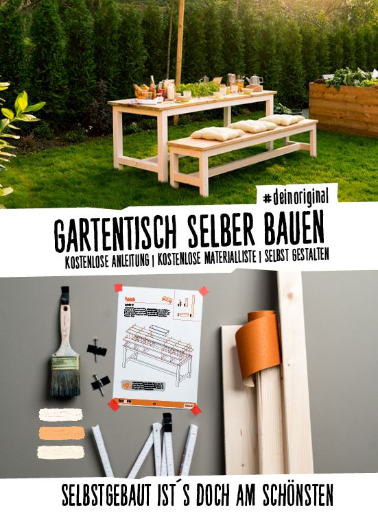 Ein Gartentisch Mit Dielen Als Tischplatte Und Eingearbeiteten