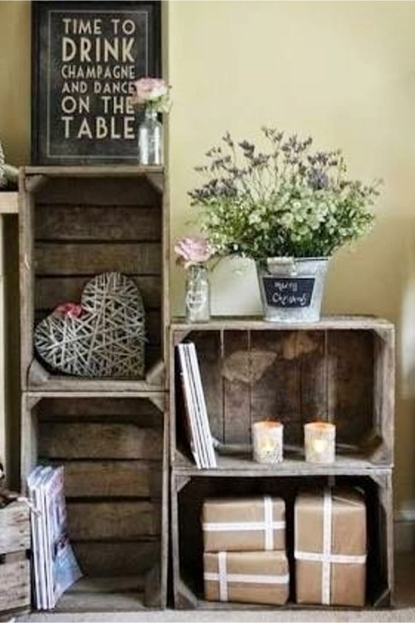 Simple rustic decorating ideas with old wood crates and boxes easy diy home decor on  budget rustichomedecormountain rustichomedecorcheap also rh pinterest
