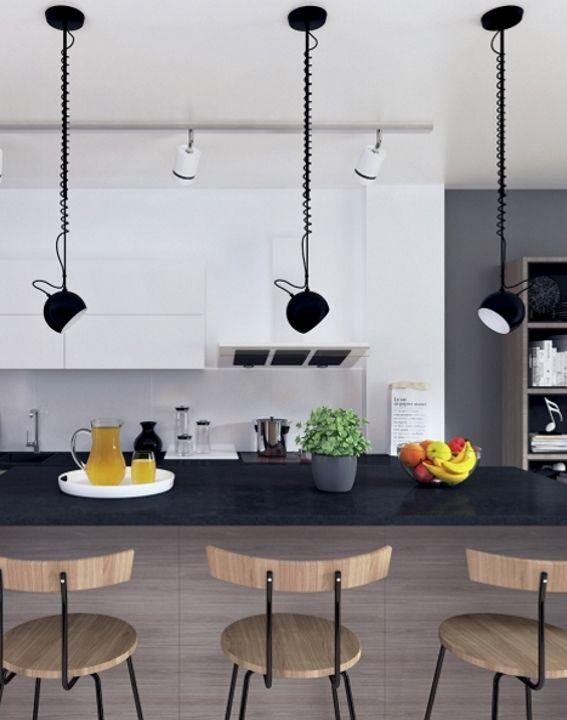 //Puristisches Desiger Apartment// Küche In Grau/schwarz Mit Bar Und