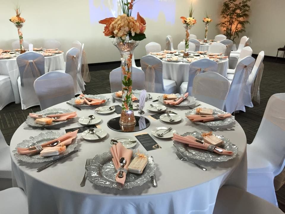 Peach And Silver Wedding Decor Sunset Room Weddings Pinterest