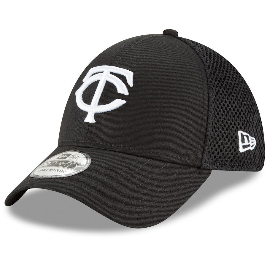 best service 0a089 8e1a8 Men s Minnesota Twins New Era Black Neo 39THIRTY Unstructured Flex Hat,  Your Price   25.99