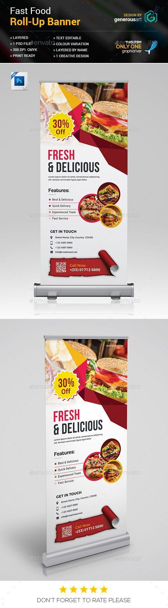 Fast Food Roll Up Banner By Generousart Specification 1 Creative Design300 Dpi R Brochures Go To Source Mydailygra In 2020 Pull Up Banner Design Food Banner Fast Food