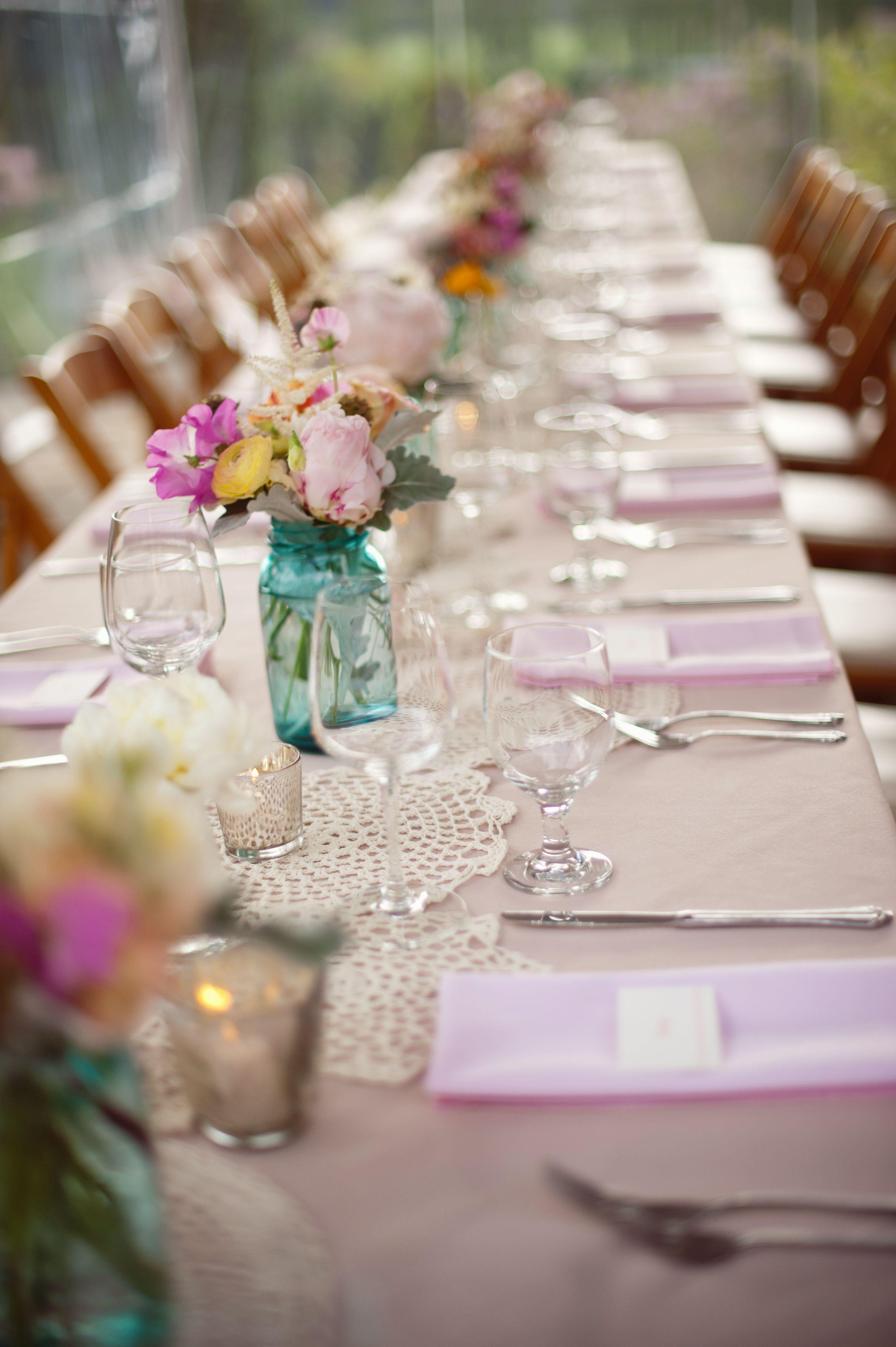 Lavender decor for wedding Blue Mason Jars Doilies Kingus Table Decor Wedding Planning