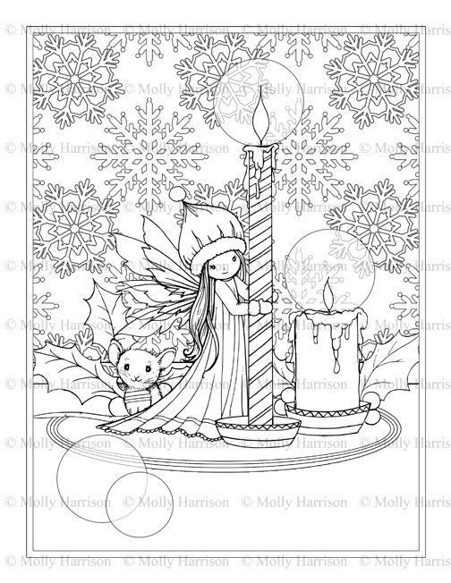 Christmas Fairy and Mouse with Candles Coloring Page - All ...