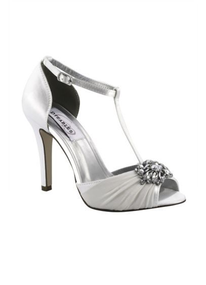 88897686422 Dyeable Silk Chiffon T-Strap Heels with Crystals EVERLY