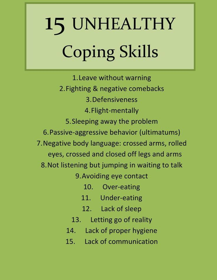 15 Unhealthy Coping Skills (Part I) | Coping skills ...
