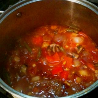 Leftover vegetable kabob soup! Yummy!