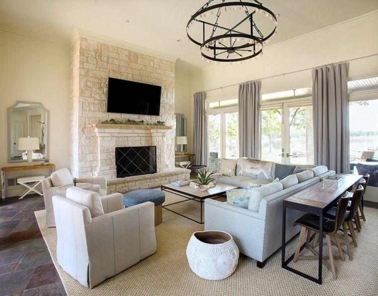 Idee per mobili soggiorno moderni con divano e poltrone for Parete attrezzata con divano