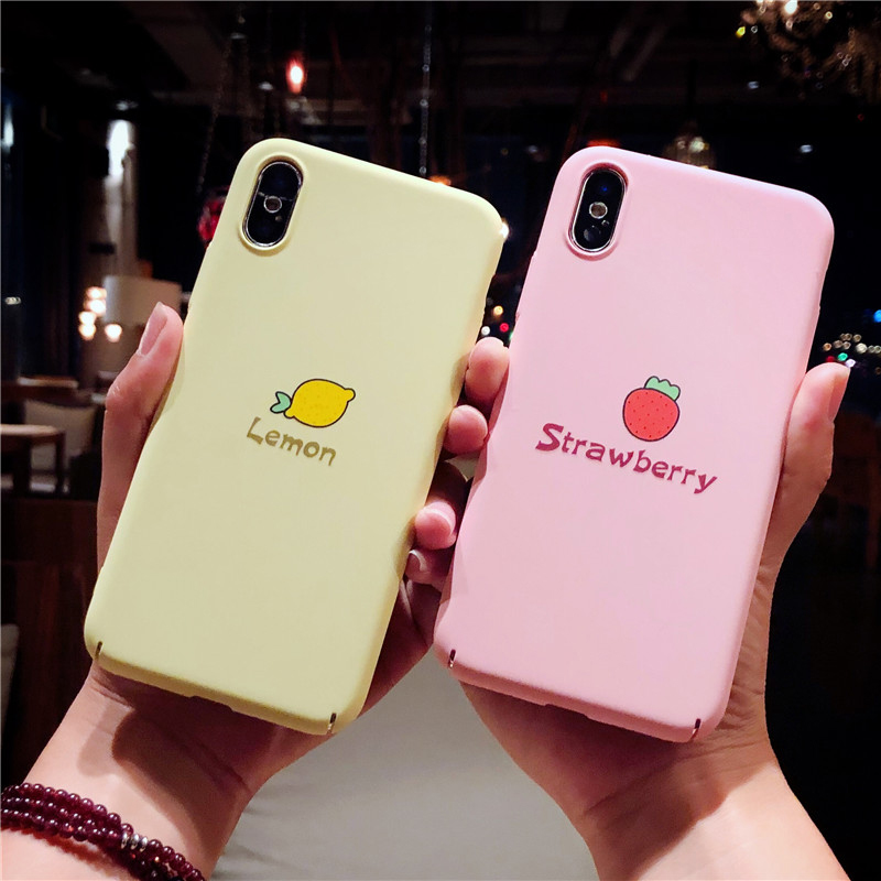 Cartoon Cute Phone Cases For Iphone 6 6S 7 8 Plus X Lovely Lemon Fruit Hard PC For Iphone 7 Plus Phone Case