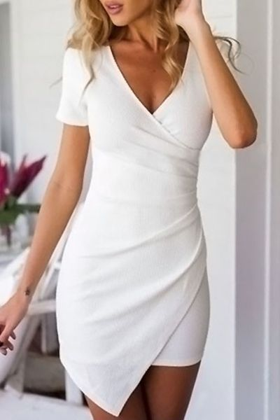 51909bdbee5f Solid Color Short Sleeve Bodycon Dress WHITE  Bodycon Dresses ...