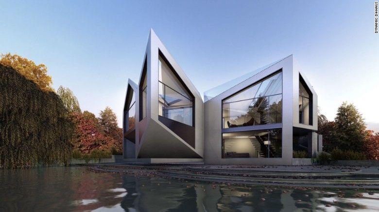Consisting of four modules, the Dynamic D*Haus closes up in winter, to save energy, and unfolds itself in the summer to let in the light and release heat.