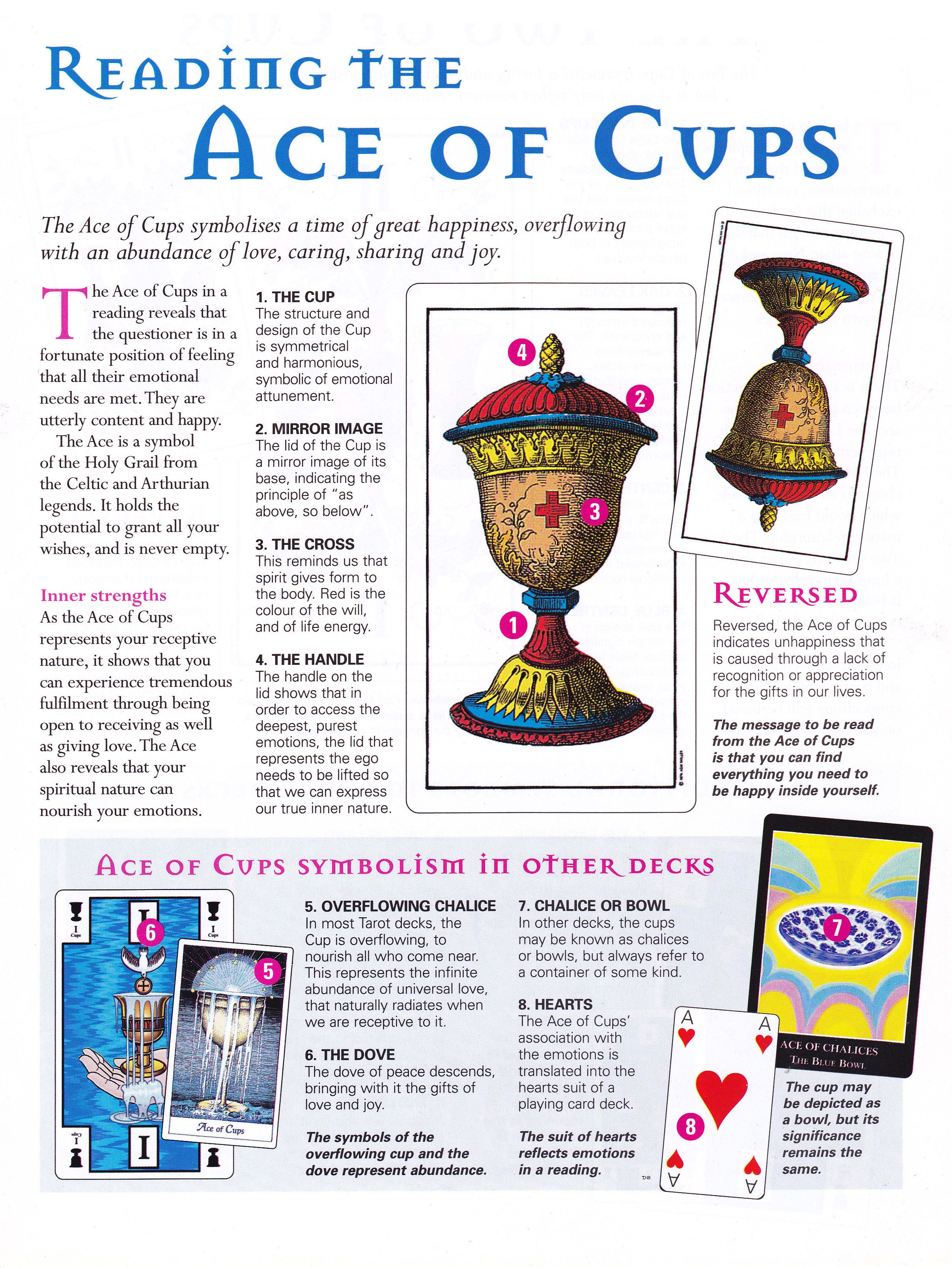 Reading The Ace Of Cups Tarot Card Meanings Tarot Card Spreads