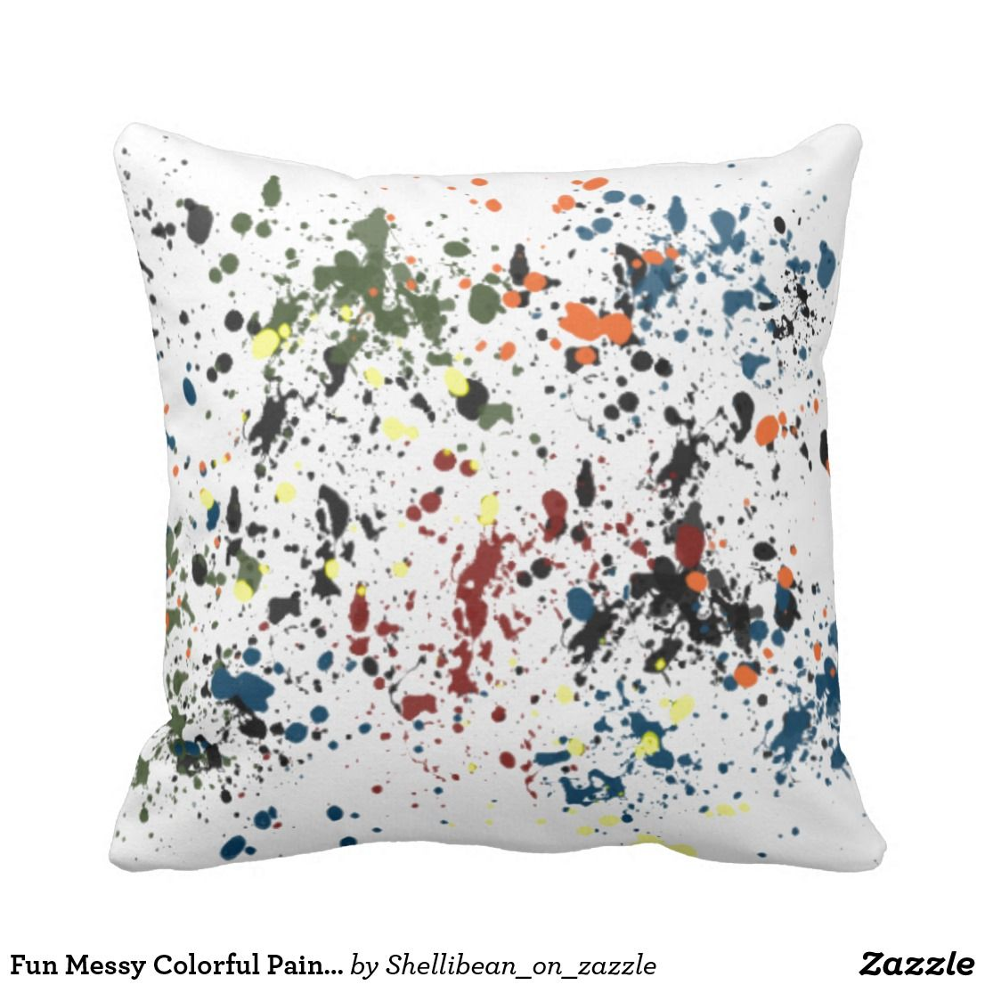 Fun messy colorful paint splatters modern abstract throw pillow in