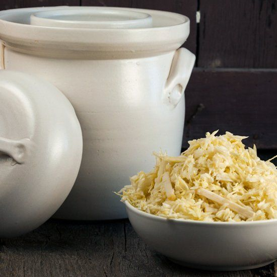 Old-school way to make your own sauerkraut. Learn How to make sauerkraut using a special ceramic jar. 6 weeks waiting time.