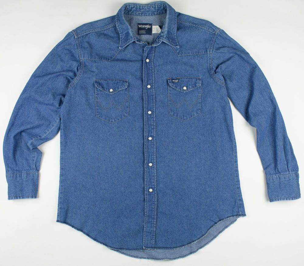 7ba3f6c1ed3 Vintage Wrangler USA Denim Western Pearl Snap Workwear Jeans Shirt X-Large   Wrangler  Western