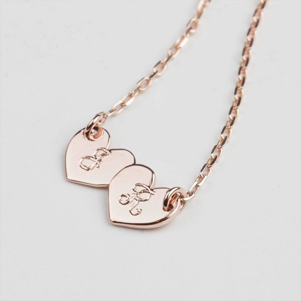 Double initial charm 14k rose gold necklace script engraving double initial charm 14k rose gold necklace script engraving monogram initial disc necklace heart mozeypictures Images
