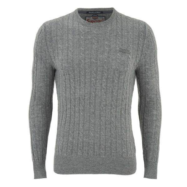 Superdry Men's Harrow Cable Knit Jumper (€71) ❤ liked on Polyvore featuring men's fashion, men's clothing, men's sweaters and grey