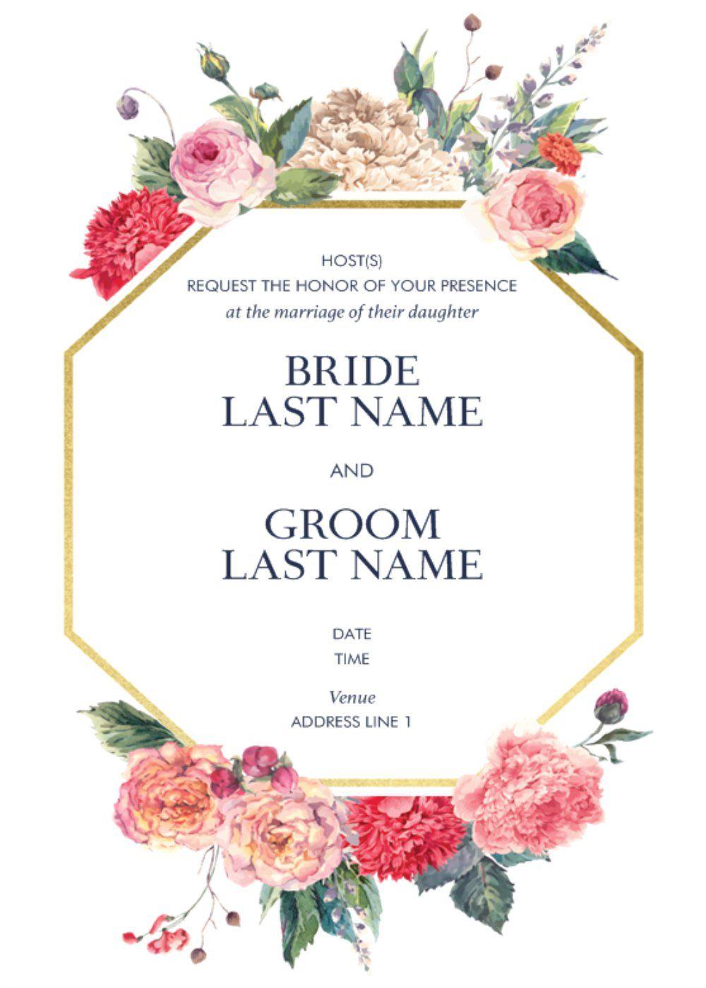 Rounded Corner Invitations Affordable Wedding Invitations Floral Wedding Invitations Wedding Invitations