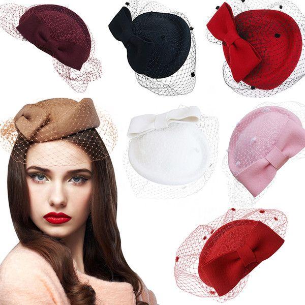 Wholesale A082 Womens Dress Fascinator Wool Felt Pillbox Hat Party Wedding  Guest Hat Formal Evening Headwear Feather Perching Bow Veil fa70c7cac1e