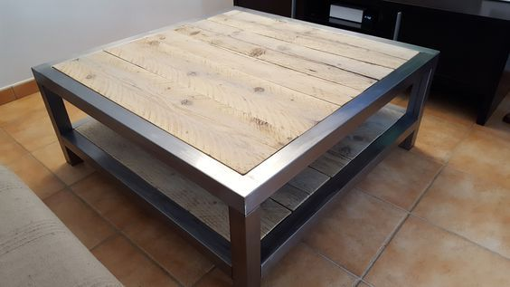 Table Basse Industrielle Metal Et Bois Table Basse Industrielle Table Basse Bois Metal Table Basse