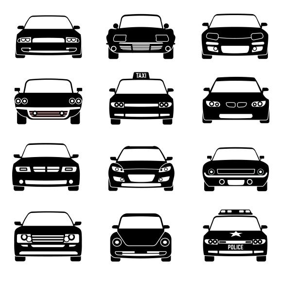 Cars In Front View Black Icons By @Graphicsauthor