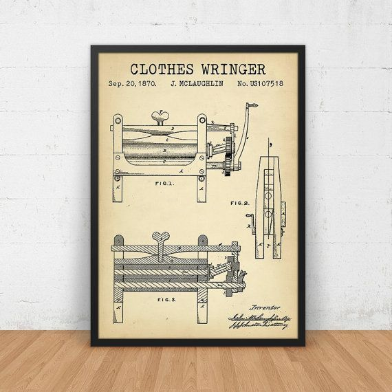Laundry decor clothes wringer patent print digital download laundry decor clothes wringer patent art print digital download blueprint art laundry prints malvernweather Images