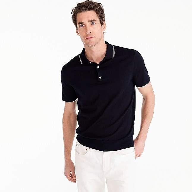 41e46fc9a364 J.Crew Pima cotton short-sleeve tipped sweater polo