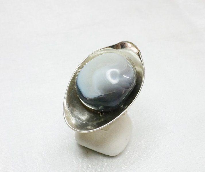 Silberring mit Achat-Edelstein 16 mm SR552 von Atelier Regina  auf DaWanda.com