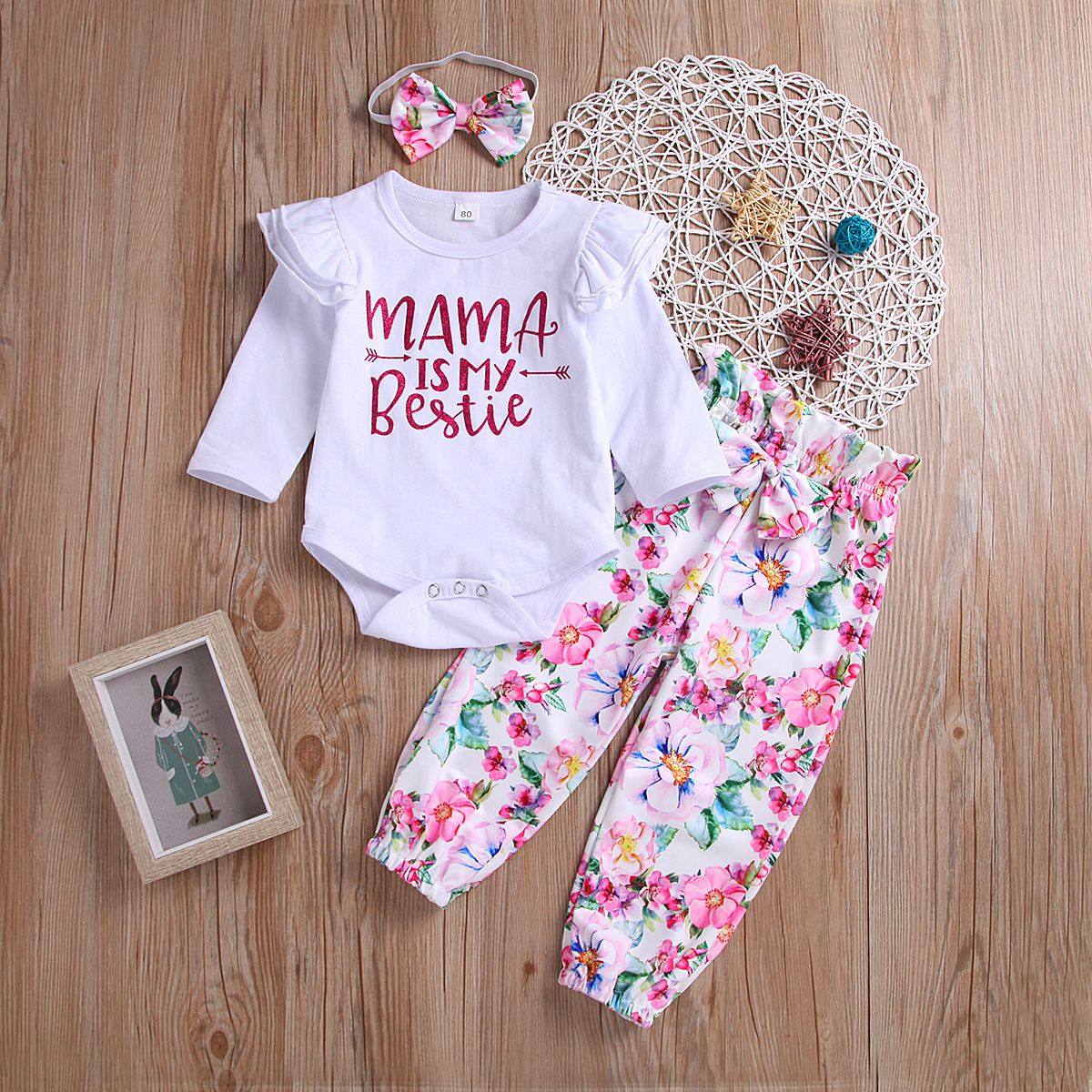 Newborn Baby Toddler Long Sleeve Romper+Pants+Headband Kids Clothes Outfits