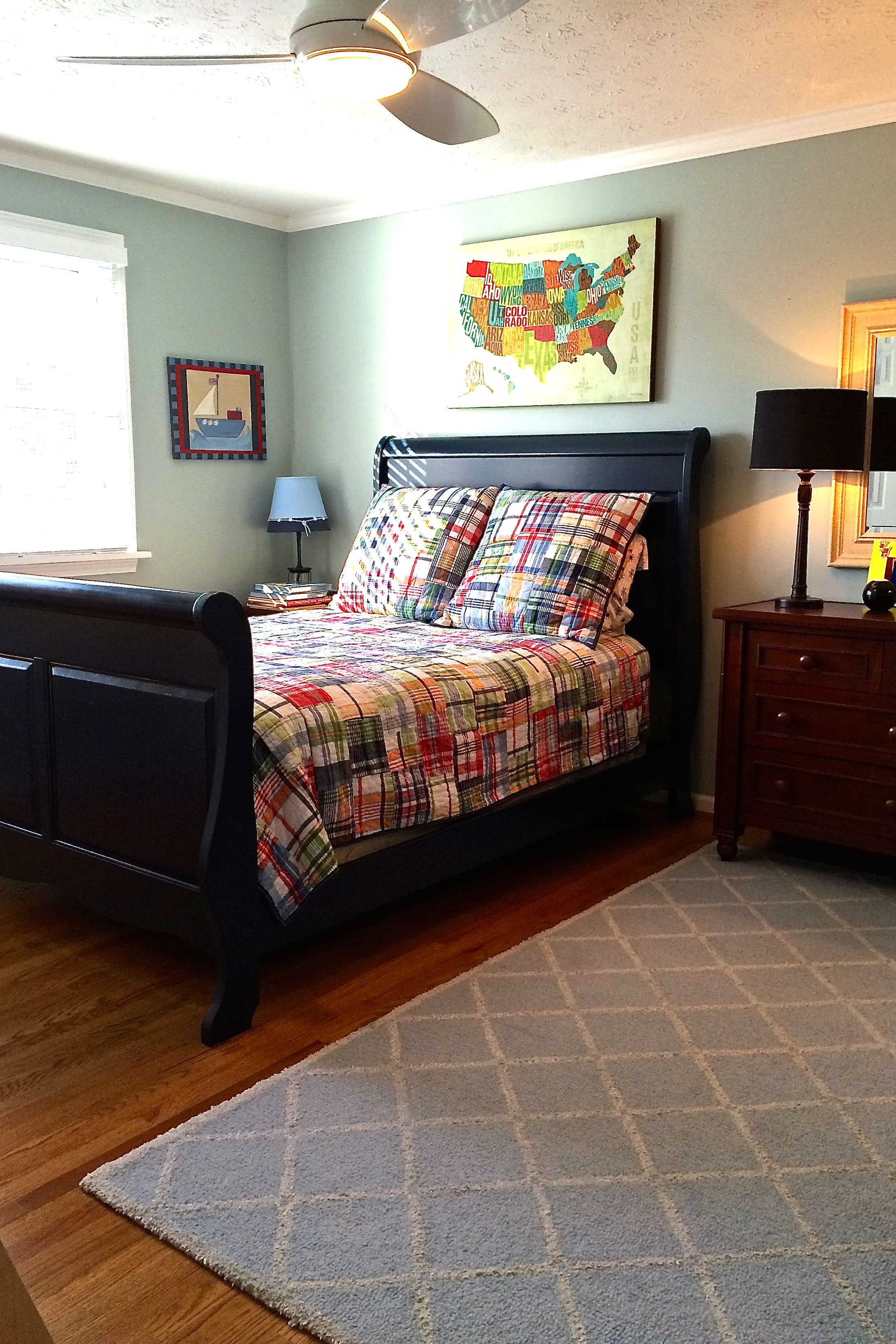 A Navy Blue Sleigh Bed, Big Boy Furnishings And Bedding