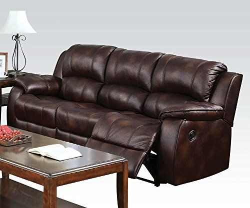 Leather Sofas PerfectChoice Zanthe Brown Polished Microfiber Reclining Sofa ue ue ue Learn more by visiting the image