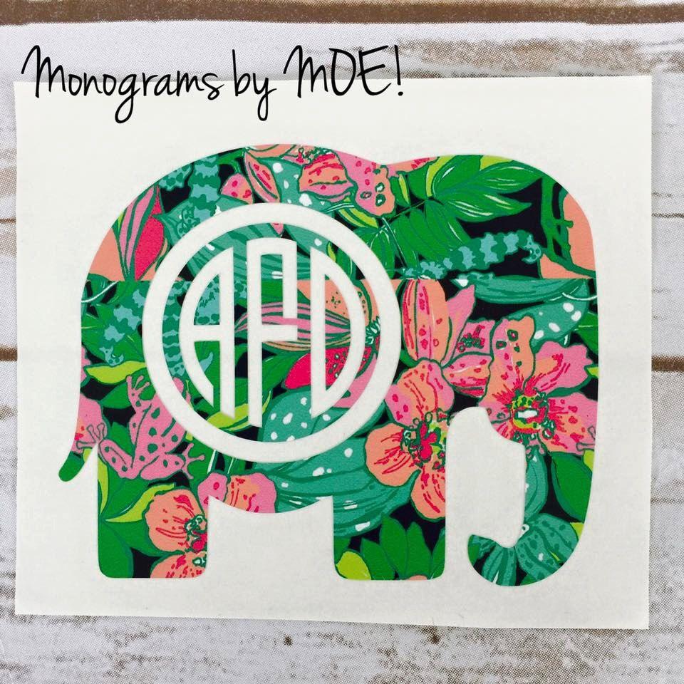 Lilly Pulitzer Elephant Monogram Decal Elephant Monogram Car - Elephant monogram car decal