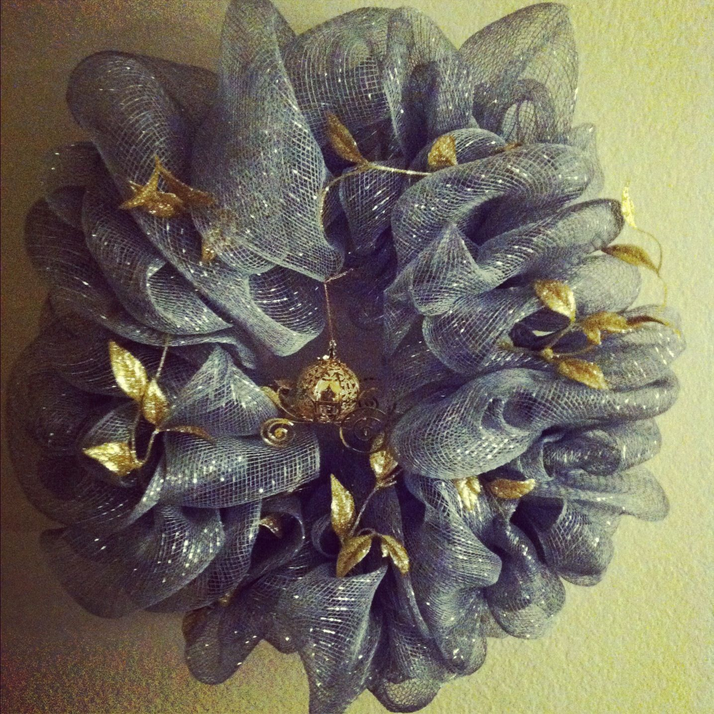 DIY Cinderella deco mesh wreath!! 1 roll of deco mesh, 1 wire coat ...